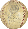 Autographs:Baseballs, 1940 Philadelphia Phillies Team Signed Baseball. Long-time starHans Lobert makes his way to the sweet spot of the provided...