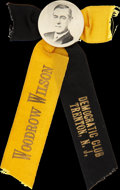 Political:Ribbons & Badges, Woodrow Wilson: Rare New Jersey Governor Pinback and Ribbons....
