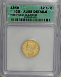 1848-C $2 1/2 --Cleaned, Rim Filed--ICG. AU55 Details. NGC Census: (21/51). PCGS Population (5/9). Mintage: 16,788. Numi...