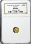 California Fractional Gold: , 1874/3 50C Indian Round 50 Cents, BG-1052, High R.4, MS64 ProoflikeNGC. NGC Census: (2/2). (#7108...