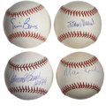 Autographs:Baseballs, Hall of Famers Single Signed Baseballs Lot of 4. Excellent quartetof singles that we present here each sports the signatur... (Total:4 items)