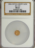 California Fractional Gold: , 1856 25C Liberty Octagonal 25 Cents, BG-107, Low R.4, MS61 NGC. NGCCensus: (3/12). PCGS Population (5/83). (#10376)...