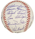 Autographs:Baseballs, 1997 Hall of Fame Induction Multi-Signed Baseball. Signed atbaseball's illustrious summer event that yearly sees new memb...