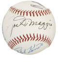 Autographs:Baseballs, Baseball Stars and Hall of Famers Multi-Signed Baseball with JoeDiMaggio and Ted Williams. Several former stars at the maj...