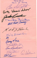 Autographs:Others, Baseball Hall of Famers Multi-Signed Sheet. Some lucky autographcollector was keen enough to get this collection of 13 Hal...