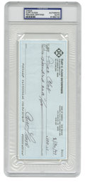Autographs:Checks, 1993 Curt Flood Signed Check, PSA Authentic. Sparkling demonstration of the reserve clause hero Curt Flood's desirable sign...