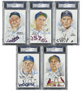 Autographs:Post Cards, Baseball Hall of Famers Signed Perez-Steele Postcards, PSA-GradedLot of 5. Fine assortment of Hall of Fame signatures, ea... (Total:5 cards)