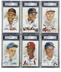Autographs:Post Cards, Baseball Hall of Famers Signed Perez-Steele Postcards, PSA Authentic Lot of 6. This fine half dozen signed postcards from t... (Total: 6 cards)