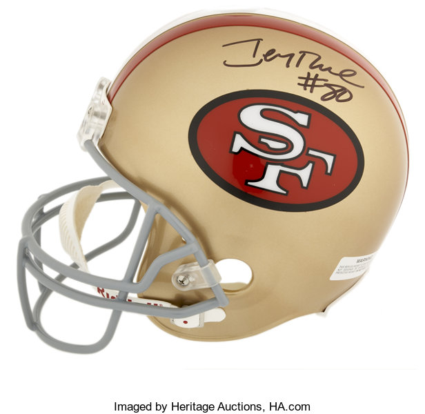 700538f67 Jerry Rice Signed Full-Sized Helmet. Considered by many to