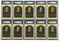 Autographs:Post Cards, Bobby Doerr Signed Gold Hall of Fame Plaques, PSA Authentic Lot of 10. Each of the 10 graded gold Hall of Fame plaque postc... (Total: 10 cards)