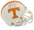 Football Collectibles:Helmets, Peyton Manning Signed Mini Helmet. Applied to a mini version of the helmet he wore while starring at the University of Tenn...