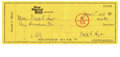 Autographs:Checks, 1978 Waite Hoyt Triple Signed Check. The Hall of Fame hurler withexceptional vintage appeal, Waite Hoyt was a veteran of s...