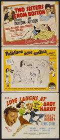 """Movie Posters:Comedy, Love Laughs at Andy Hardy Lot (MGM, 1947). Title Lobby Cards (2) and Lobby Card (11"""" X 14""""). Comedy.... (Total: 3 Items)"""