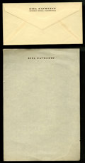 """Movie Posters:Miscellaneous, Rita Hayworth Stationery (1940s). Envelope and Writing Paper (7"""" X 10.5"""").... (Total: 2 Items)"""