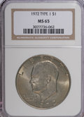 Eisenhower Dollars, 1972 $1 Type one MS65 NGC. NGC Census: (789/22). PCGS Population (351/14). Mintage: 75,890,000. Numismedia Wsl. Price for N...