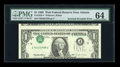 Error Notes:Inverted Third Printings, Fr. 1922-F $1 1995 Federal Reserve Note. PMG Choice Uncirculated64.. ...