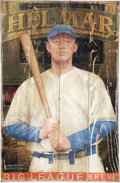 Baseball Collectibles:Others, Helmar Gabby Hartnett Advertising Sign. Created by the artists atthe Helmar Brewing Company, this elegant piece is a painte...
