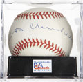 Autographs:Baseballs, Happy Chandler Single Signed Baseball, PSA NM-MT 8. Hall of Famebaseball exec Happy Chandler provides a tremendous single ...
