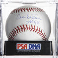 "Autographs:Baseballs, Don Sutton ""HOF 98"" Single Signed Baseball, PSA Mint 9. The greathurler Don Sutton makes note of his Hall of Fame induction..."