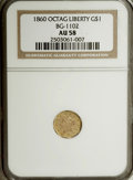 California Fractional Gold: , 1860 $1 Liberty Octagonal 1 Dollar, BG-1102, R.4, AU58 NGC. NGCCensus: (1/15). PCGS Population (8/61). (#10913)...