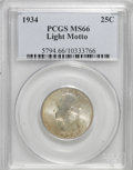 Washington Quarters: , 1934 25C Light Motto MS66 PCGS. PCGS Population (62/5). NGC Census:(22/1). Mintage: 31,912,052. Numismedia Wsl. Price for ...