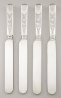 Silver Flatware, American:Tiffany, A SET OF FOUR AMERICAN SILVER DINNER KNIVES. Tiffany & Co., NewYork, New York, circa 1870. Marks: O, V (crown) R, JOS...(Total: 4 Items)