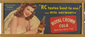 """Movie Posters:Miscellaneous, Rita Hayworth Advertising Sign (RC Cola, 1946). Framed Royal CrownCola Advertising Sign (12.5"""" X 29"""")...."""