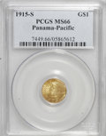 Commemorative Gold: , 1915-S G$1 Panama-Pacific Gold Dollar MS66 PCGS. PCGS Population(707/47). NGC Census: (462/50). Mintage: 15,000. Numismedi...