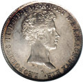 Italy:Tuscany, Italy: Tuscany. Leopold II 5 Paoli 1827-PC, KM-C73, MS62 NGC, ahandsome example with gray and gold patina over fully lustroussurf...