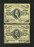 Fractional Currency:Third Issue, Two Green Back Clarks.. Fr. 1238 5c Third Issue VG. Fr. 1239 5c Third Issue Fine.. The Friedberg 1239 has an approxi... (Total: 2 notes)