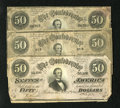 Confederate Notes:1864 Issues, T66 $50 1864. Three Examples. This lot contains two 1st Series and one 2 Series note. Very Good or better.. ... (Total: 3 notes)