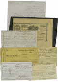 Confederate Notes:Group Lots, Confederate Paper. This lot includes receipts for depositing moneyat various Confederate Depositaries and that includes Hou...(Total: 7 items)
