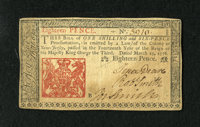 New Jersey March 25, 1776 18d Extremely Fine. The signatures are dark and the wear is light on this example. Some aging...