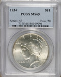 Peace Dollars: , 1934 $1 MS65 PCGS. PCGS Population (455/123). NGC Census: (303/27).Mintage: 954,057. Numismedia Wsl. Price for NGC/PCGS co...