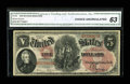 Large Size:Legal Tender Notes, Fr. 68 $5 1875 Legal Tender CGA Choice Uncirculated 63....