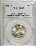 Washington Quarters: , 1934-D 25C Medium Motto MS65 PCGS. PCGS Population (227/71). NGCCensus: (126/33). Mintage: 3,527,200. Numismedia Wsl. Pric...