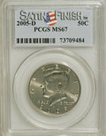 Kennedy Half Dollars, 2005-D 50C Satin Finish MS67 PCGS. PCGS Population (168/0). (#96789)...