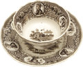 Political:3D & Other Display (pre-1896), William Henry Harrison: Cup and Saucer Set from the 1840Campaign.... (Total: 2 Items)