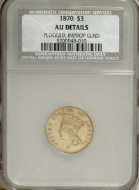 1870 $3 --Improperly Cleaned, Plugged--NCS. AU Details. NGC Census: (14/193). PCGS Population (23/0). Mintage: 3,500. Nu...