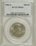 Susan B. Anthony Dollars: , 1981-S SBA$ MS64 PCGS. PCGS Population (508/427). NGC Census:(118/166). Mintage: 3,492,000. N...