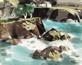 Works on Paper, GEORGE BOOTH POST (American, 1906-1997). Mendocino. Watercolor on paper laid on cardboard. 18 x 22-1/2 inches (45.7 x 57...
