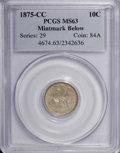 Seated Dimes, 1875-CC 10C Mintmark Below Bow MS63 PCGS....
