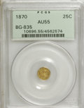 California Fractional Gold: , 1870 25C Liberty Round 25 Cents, BG-835, R.3, AU55 PCGS. PCGSPopulation (25/167). NGC Census: (1/31). (#10696)...