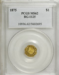 California Fractional Gold: , 1875 $1 Indian Octagonal 1 Dollar, BG-1125, Low R.5, MS62 PCGS.PCGS Population (5/20). NGC Census: (0/1). (#10936)...