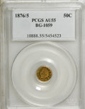 California Fractional Gold: , 1876/5 50C Indian Round 50 Cents, BG-1059, R.4, AU55 PCGS. PCGSPopulation (7/86). NGC Census: (1/9). (#10888)...