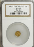 California Fractional Gold: , 1875 25C Indian Octagonal 25 Cents, BG-797, Low R.4, MS63 NGC. NGCCensus: (4/2). PCGS Population (27/57). (#10624)...
