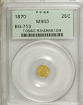 California Fractional Gold: , 1870 25C Liberty Octagonal 25 Cents, BG-713, R.4, MS63 PCGS. PCGSPopulation (15/49). NGC Census: (0/6). (#10540)...
