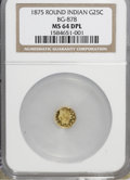 California Fractional Gold, 1875 25C Indian Round 25 Cents, BG-878, R.3, MS64 Deep ProoflikeNGC. NGC Census: (7/1). (#710739)...
