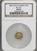 California Fractional Gold: , 1853 $1 Liberty Octagonal 1 Dollar, BG-531, R.4, AU55 NGC. NGCCensus: (1/2). PCGS Population (18/60). (#10508)...