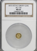 California Fractional Gold: , 1873 25C Liberty Octagonal 25 Cents, BG-728, R.3, MS65 NGC. NGCCensus: (5/3). PCGS Population (39/24). (#10555)...
